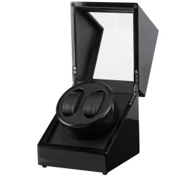 Watch winder i sort træ med sort interiør